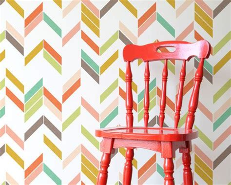 Fun Colorful Modern Herringbone Wall Stencil