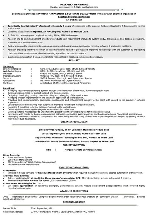 Best Java Resume Sles by Resume Sle Java Resume Sles Java Developer