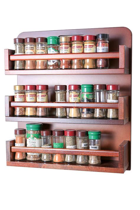 Big Spice Rack by Spice Rack Wooden Open Top 3 Tiers Timber Rail