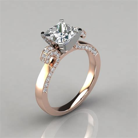 vintage floral design princess cut engagement ring