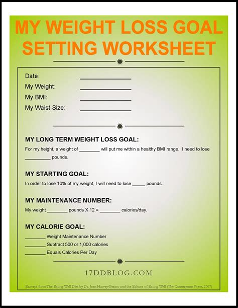 my weight loss goal setting worksheet free pdf