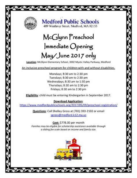 preschool medford ma mcglynn preschool has immediate opening for may june 128