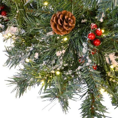 4 ft cone berry snow tip tree festive 6ft 183cm green pine prelit decorated snow artificial tree