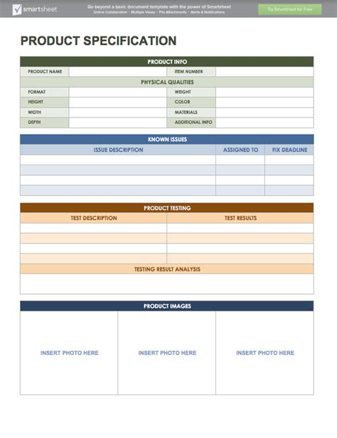 product spec sheet template free product management templates smartsheet