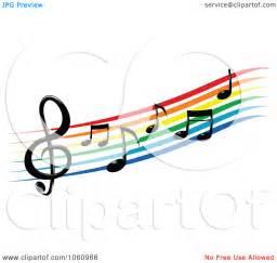 Rainbow Music Notes Clip Art Free
