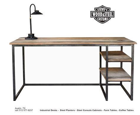 industrial desk buy a custom made industrial reclaimed wood desk made to order from austin retro design
