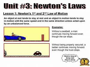 Unit #3: Newton's Laws Lesson 1: Newton's 1st and 2nd Law ...