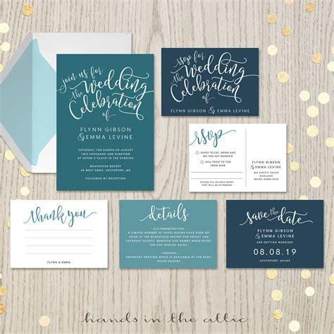 teal wedding invitation set printable stationery hands