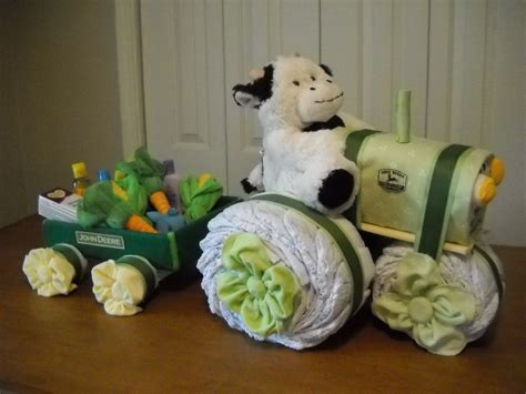 John Deere Tractor And Wagon Diaper Cake By