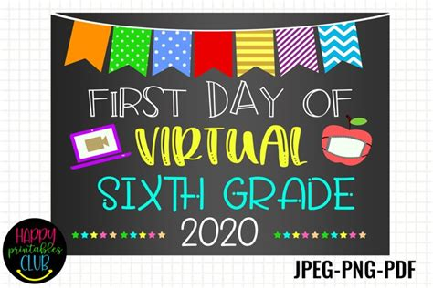 day virtual sixth grade sign  day  school sign  signs design bundles