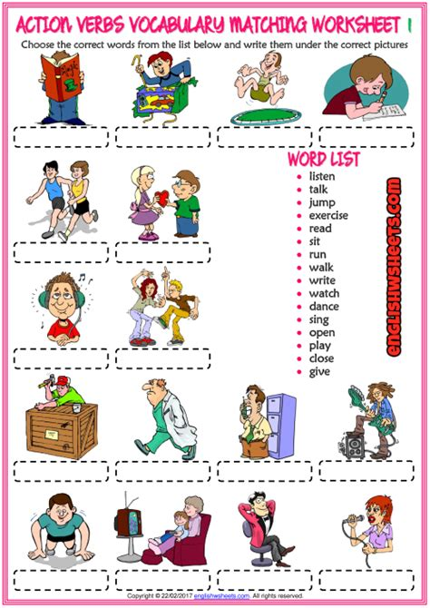 action verbs esl vocabulary matching exercise worksheets