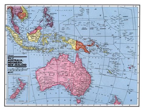 large detailed political map  australia  oceania