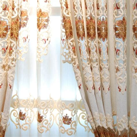 shabby chic living room curtains shabby chic beige chenille pierced design living room curtain