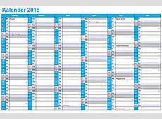 2018 Kalender PDF, Word, Excel Kalender 2018 Schulferien