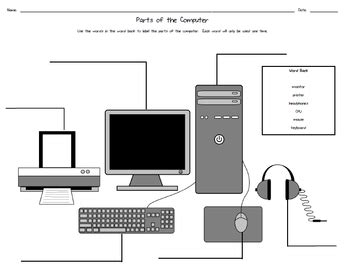 parts of the computer worksheet by to the wire tpt
