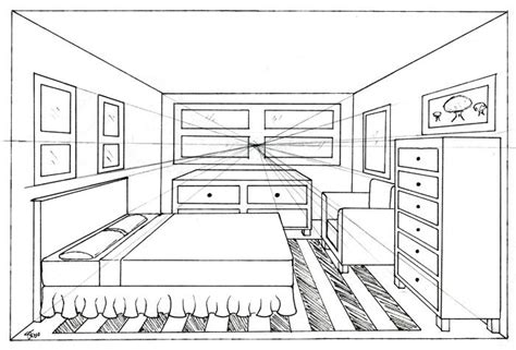 point perspective bedroom drawing cdxndcom home