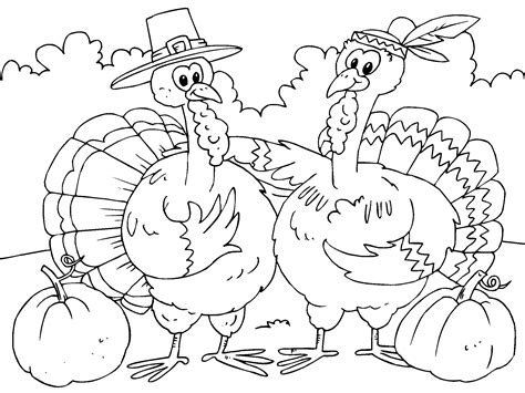 Thanksgiving Turkey Coloring Pages Printables Sketch