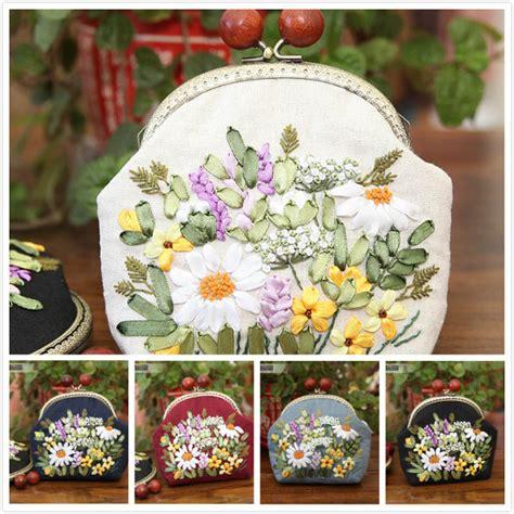 diy ribbon embroidery flowers chain bag handbag needlework