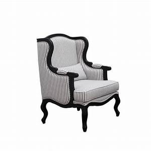 Fauteuil Bergère À Oreilles : fauteuil c sarine tissu ray berg re oreilles noir ch ne interior 39 s ~ Nature-et-papiers.com Idées de Décoration