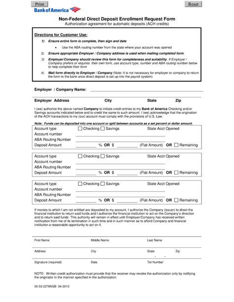 bank letter for direct deposit free bank of america direct deposit form pdf eforms
