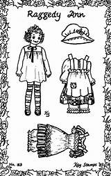 Ann Raggedy Doll Paper Dolls Rag Stamps Coloring Kay Card Embroidery Patterns 1983 sketch template