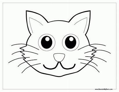 Coloring Face Animal Kitten Faces Colorear Outline