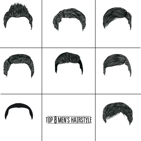 man hairstyle collection vector