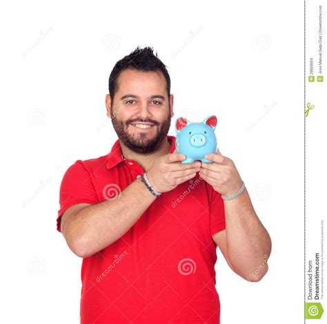 Bearded Man Holding A Blue Piggy Bank Stock Photo Image