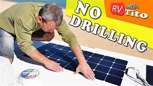 INSTALL FLEXIBLE SOLAR PANEL on RV with NO DRILLING - YouTube
