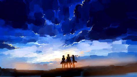 shingeki  kyojin sunset full hd fondo de pantalla