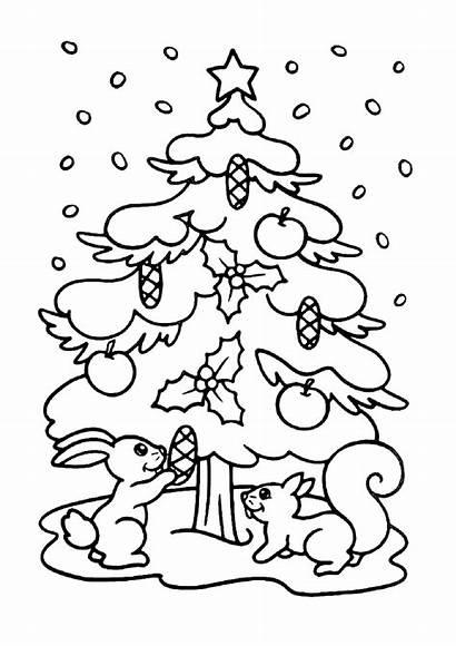 Coloring Tree Christmas Pages Printable Chrismas Snow