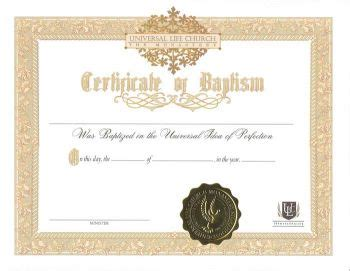 certificate of wiccan ordination template free certificate of baptism universal life church