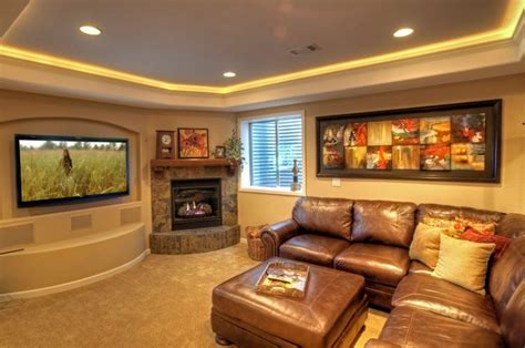 Basement Wall Finishing Ideas by Tray Ceiling Ledge Light With Bullnose Edge Basement