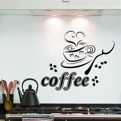 kitchen curtains coffee cup design wall decals coffee cup cafe restaurant kitchen vinyl 7908
