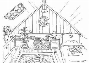Dessin Intérieur Maison : kleurplaat zolder coloriages et dessins pinterest recherche int rieurs et coloriages ~ Preciouscoupons.com Idées de Décoration