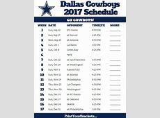 2017 Dallas Cowboys Football Schedule Dallas Cowboys