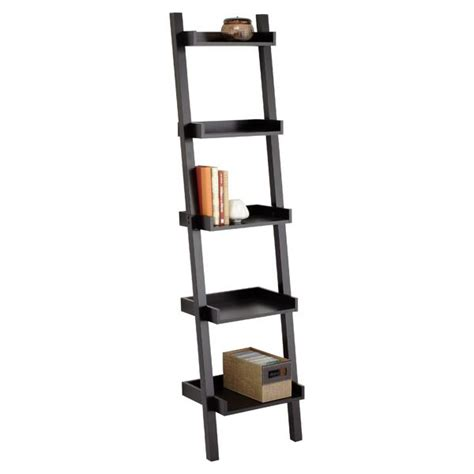 Narrow Ladder Bookcase by Java Linea Narrow Leaning Bookcase The Container Store