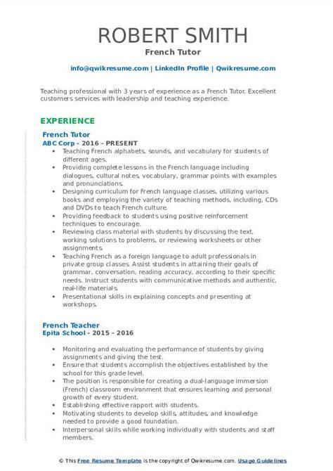 french tutor resume samples qwikresume