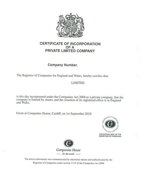 certificate  incorporation company address