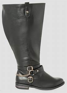 Plus Size Ankle Buckle Riding Boot Extra Wide Calf 068