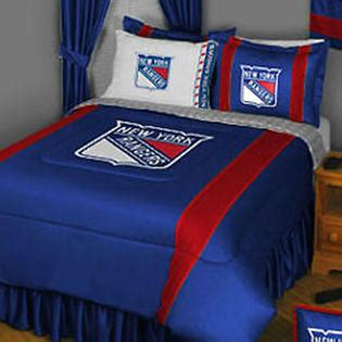 nhl nhl new york rangers hockey team 5pc queen bedding set