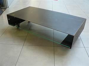 Table Basse Sur Roulette : table basse acier et verre sur mesures ultimo ~ Melissatoandfro.com Idées de Décoration
