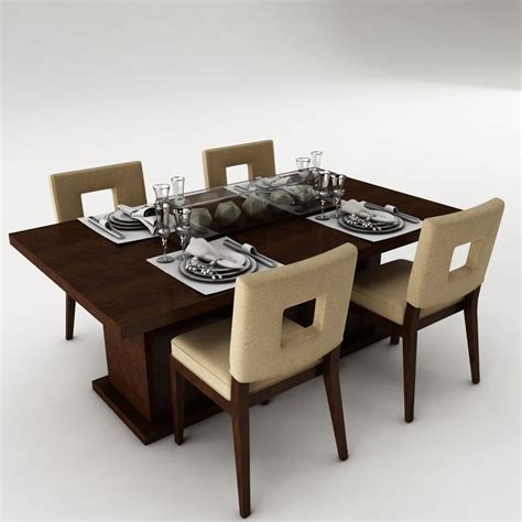 Dining Table Set 23 3d Model Max Obj 3ds Fbx Mtl