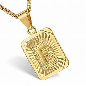 Mens women chain pendant necklace gold filled square for Mens letter pendant