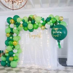 Fairy Light Arch Partyday Curtain Backdrop Setup With Organic Balloons And