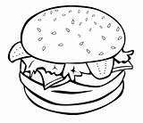 Coloring Hamburger Junk Printable Easy Drawing Adult Xyz sketch template