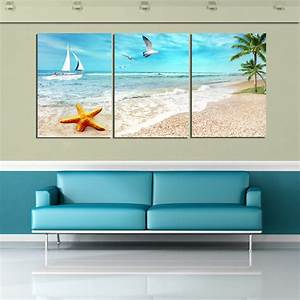 3 Panel Large Beach Canvas Seascapes Palm Tree Paintings 3