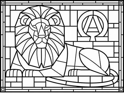 Stained Coloring Glass Pages Lion Adults
