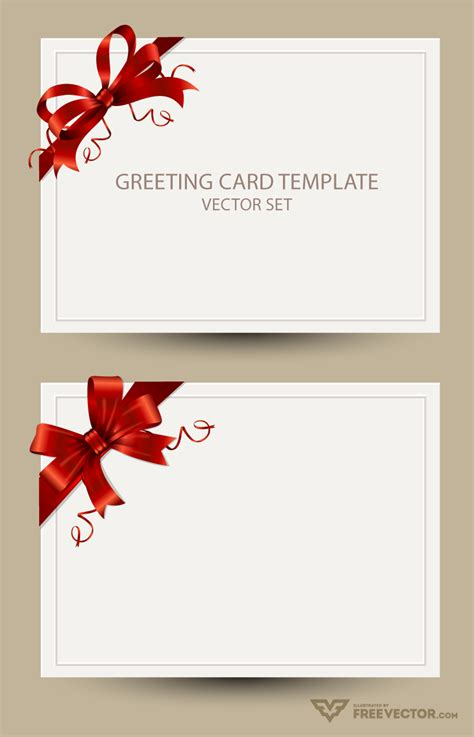 freebie greeting card templates  red bow ai eps