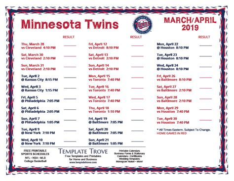 printable  minnesota twins schedule